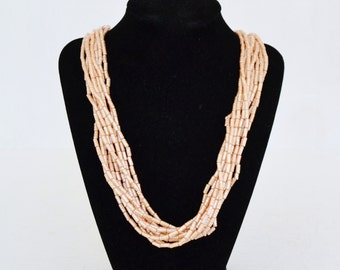 Vintage Multi-Stranded Necklace with Pearlized Thin Beads Made in Hong Kong