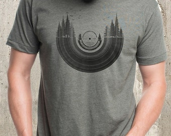 Vinyl Record & Forest Landscape T-Shirt - Men's Graphic Tee - American Apparel