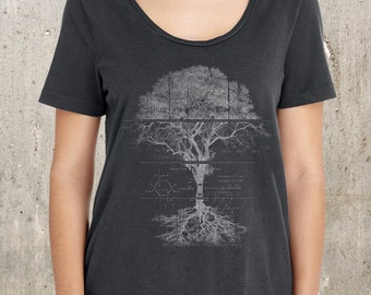 Women's Scoop Neck T-Shirt - Tree Schematics and Diagram - American Apparel - Available in XS, M, L & XL