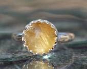 STUNNING Cats Eye Rutilated Quartz Gemstone Ring,Wonderful Chatoyance,Golden Quartz Sterling Silver Crown Ring,Womens Unique Gemstone Ring