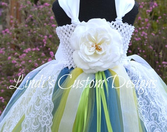 Wedding Flower Girl Tutu Dress Blue, Yellow, and Apple Lime Kiwi Green, Weddings, Pageants, White Lace Flower Girl, Yellow and Blue