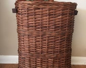 Vintage French Baguette Basket, Tall Rustic Basket