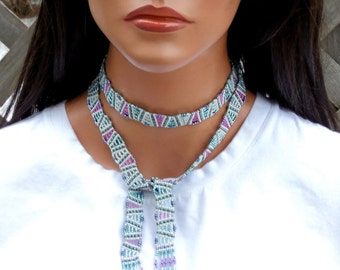 "44"" Long Lariat - Seed Bead Necklace - Beadwork Fringe - Beadwoven Lariat Necklace- Geometric Pattern - Teal Mint Pink"