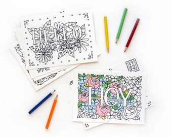 Coloring Postcards Set No. 1 | Words and Greetings Coloring Book Postcards
