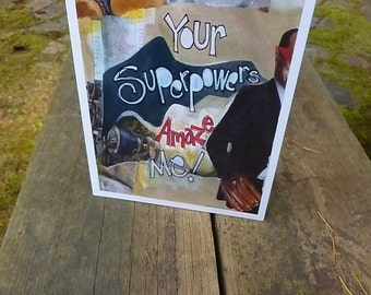 SUPERPOWERS,  Fathers Day Card, Thank You Card, Male Birthday Card, Art Card, Superhero Card, Greeting Card by Seattle Artist Mary Klump