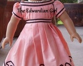 Pre-order! 1865 coral doll dress, based on Wisconsin Historical Society dress. Fits AG, Springfield, Gotz, Our Generation. Made in USA