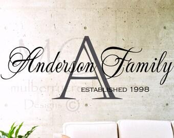 Family Monogram Vinyl Decal-Custom Family Vinyl Decals- Wedding Decal