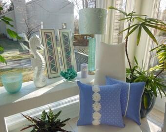 Flower Pillow - Periwinkle Pillow - Purple Flower - Teen Bedroom Pillow - Polka Dot Pillow - White Flower Trim Pillow - Cottage Chic Pillow