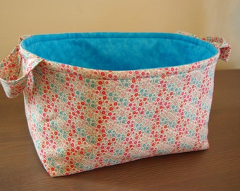 Fabric Basket w/ Floral motif/ fabric gift basket/ Pink and Blue Flower Fabric Basket w/ Bright Blue lining/ Girls Gift Basket