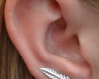 Single Feather Earring Pin - One Piercing - Sterling Silver or 14k Gold Vermeil