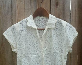 Vintage burnout lace blouse, lace top, 1940s blouse, vintage top, lace blouse, vintage clothes