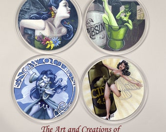 Fairy Coasters four set gift, present, painting fantasy gothic designs, la fee verte, absinthe, snow queen, cider, alcohol, green fairy