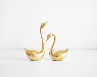 Pair of Large Brass Swans