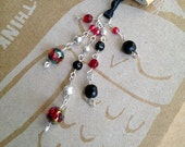 Red Black Book Thong Beaded Bookmark Dramatic Sparkly Book Club Graduation