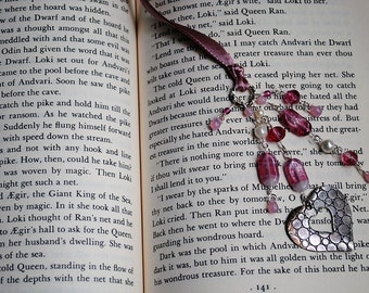 Pink Heart Bookmark Beaded Ribbon Book Thong Valentines Day Mothers Love