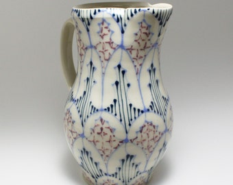 Handmade Wheel Thrown Ceramic Pitcher with Sky Blue, Navy and Purple Pattern