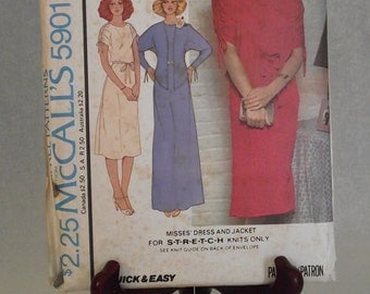 1977 Quick & Easy Stretch Dress + Jacket: McCall's Carefree Pattern 5901 -