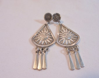 Vintage Sterling Silver Earrings Mayan Sun Signed 925 Native American Dangle Pierced 13 Grams Artisan Boho Retro Tribal