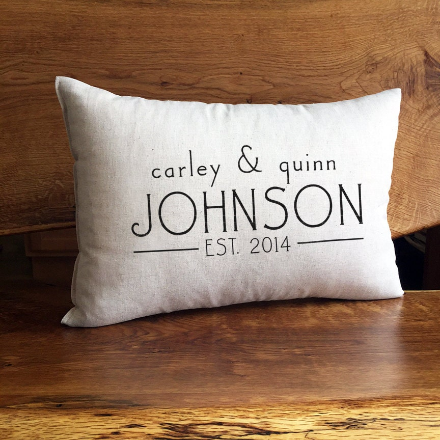 Personalized Name And Established Pillow Custom Wedding Or