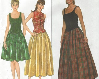 90s Jessica McClintock Womens Princess Seam Top and Full Skirt Simplicity Sewing Pattern 7935 Size 6 8 10 Bust 30 1/2 to 32 1/2 UnCut