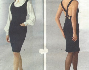 90s Albert Nipon Womens Sexy Dress or Jumper & Blouse Vogue Sewing Pattern 2605 Size 6 8 10 Bust 30 1/2 to 32 1/2 UnCut
