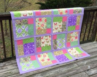 Quilt Handmade Quilt Spring Quilt Floral Quilt Purple Quilt Pink Quilt