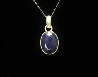 "Sapphire Pendant Sterling Silver 1.1"" Long"