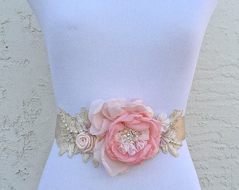 Dusty Pink, Blush, Champagne Chiffon Fabric Flowers Sash with Swarovski Sew on Crystal Pearls and ivory Lace for a Bride, Bridesmaid, Event