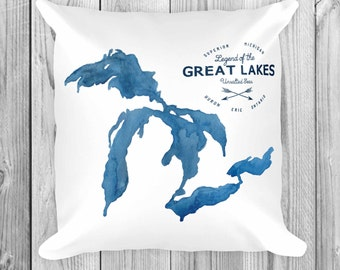 Great Lakes Unsalted Pillow, Throw Pillow, Home Decor, Nautical, Beach House, Lake House, Cottage, Michigan, Great Lakes Art, The Big Lake