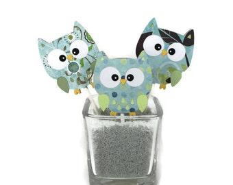 Owl cupcake toppers, cupcake picks, birthday decorations, baby shower decorations, table decorations, owl party decorations, boy owl decor