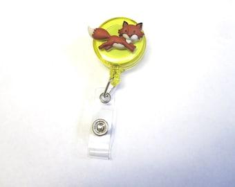 Fox Retractable ID Badge Reel Animal Nurse Teacher Name Tag Holder