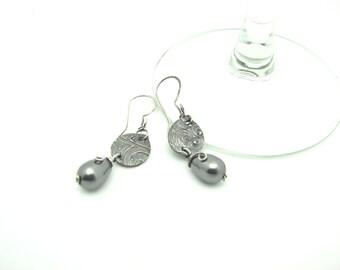 Gray Pearl Earrings Metal Work Jewelry Sterling Silver Wire Wrapped Jewlery Handmade Dangle Earrings