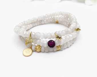 Silverite Beaded Bracelets with Gold Vermeil Charms and CZ Bead