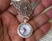 Steampunk Winged Medal (P618) Silver Wings and Faux Mini Pocket Watch, Silver hardware, Tie tack backing, Gears and Stamping