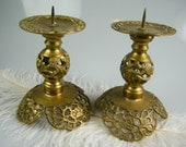 Solid Brass Pillar Candle Holders / Rare Vintage Collectible / Ornate / Set of 2