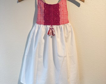 White, Pink & Red Stripes Iris Dress - Handmade w/Embroidery and Tassels