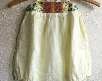 Yellow Seersucker & Green Paisley Skylar Bubble - Handmade w/Embroidery