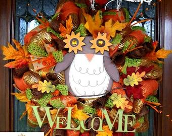 Welcome Fall Owl Wreath