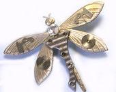 Handmade Upcycled Repurposed Steampunk Dragonfly Brooch, dragonfly steampunk brooch, dragonfly pin, steampunk pin with dragonfly, ooak