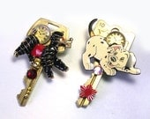 Handmade Recycled Key Upcycled One of a Kind OOAK Steampunk Dog Brooch, Dog Steampunk Brooch, dog pin, dog jewelry, dalmation, poodle
