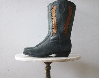 Cowboy Boots Blue Yellow - 8.5 9 Women's - DINGO 1980s Vintage