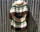 Asymmetric Long Poncho Circular Shawl Crochet Pattern PDF File Avant Garde Unbalanced Design