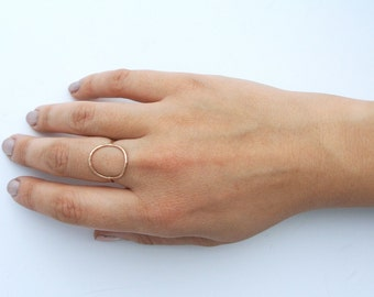 Open circle ring sterling silver blackened sterling yellow gold filled rose gold filled