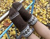 Wool Socks EU Size 39 - 40 / Medium - Fair Isle Hand Knitted Women's Socks - 100% Natural Organic Clothing