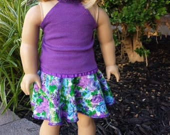 """Halter Top & Floral Flare Skirt, American Girl Doll Clothes, Made to Fit 18"""" American Girl and Similar Dolls, Purple"""