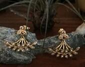 Nabulione ear jackets - bee earrings - 3 parts earrings - Vermeil 18k and gold plated ear cuff - rhinestone 20s bridal earrings - reign
