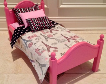 American Girl Doll:  Furniture, hot pink bed/bedding
