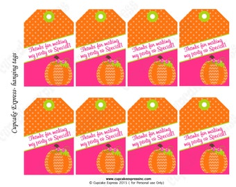 Pumpkin Patch  First Birthday girl orange pink lime green  PRINTABLE Hanging Thank You Tags 1st birthday halloween Instant Download -1050