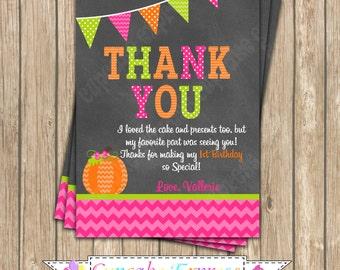 Thank You Card Pumpkin Patch One First Birthday girl orange pink green  PRINTABLE #2 chevron polka dot  1st birthday halloween fall -1050