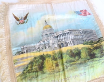 Washington D.C. Pillow Cushion Cover Polished Cotton with Fringe U.S. National Capitol Building Vacation Travel Souvenir